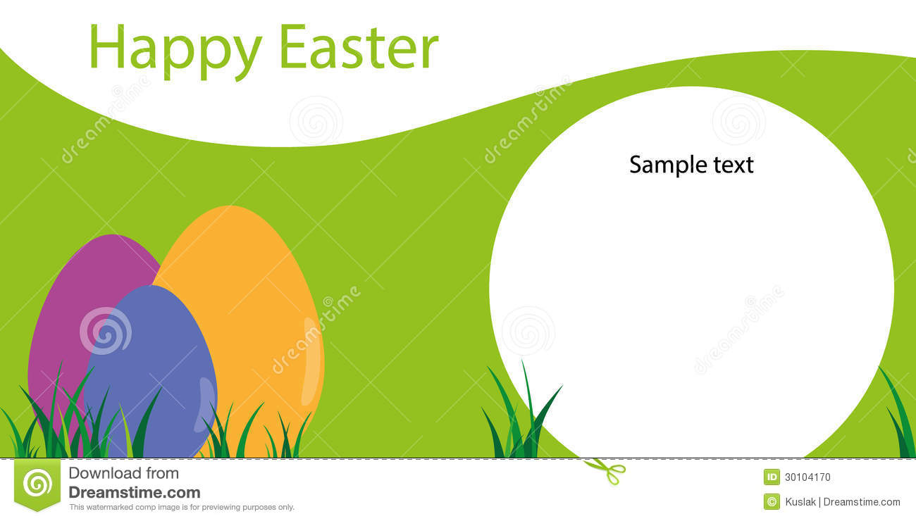 happy easter  template of greeting card with eggs stock