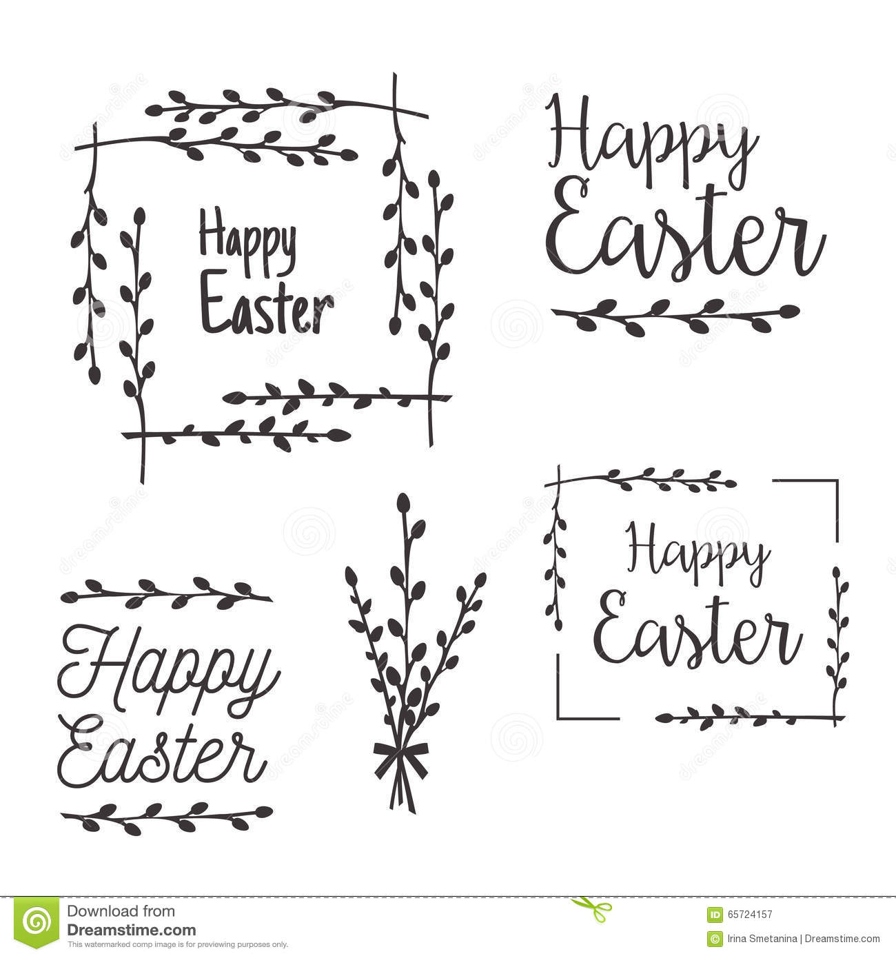 happy easter templates labels borders stock vector illustration