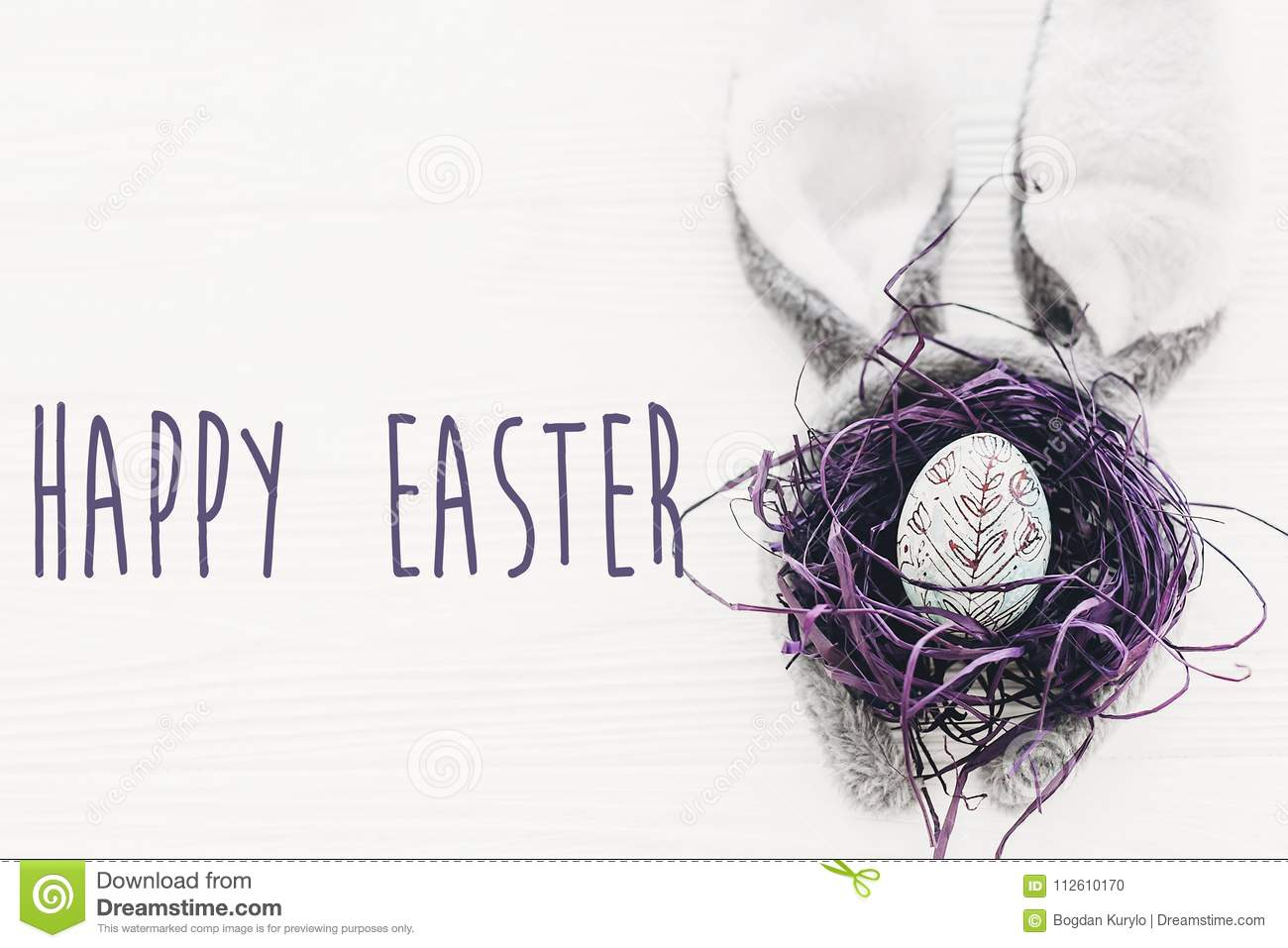 Happy Easter Text Seasons Greetings Card Bunny Ears And Styli