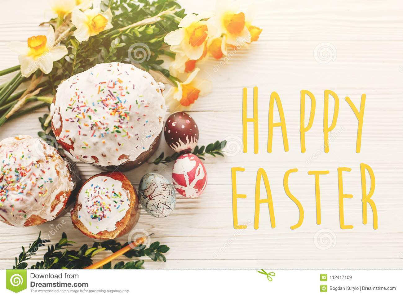 Happy Easter Text Seasons Greetings Card Delicious Easter Cak