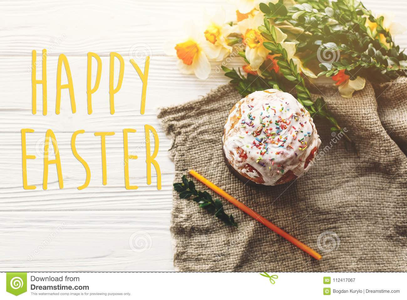Happy Easter Text Seasons Greetings Card Stylish Easter Cake