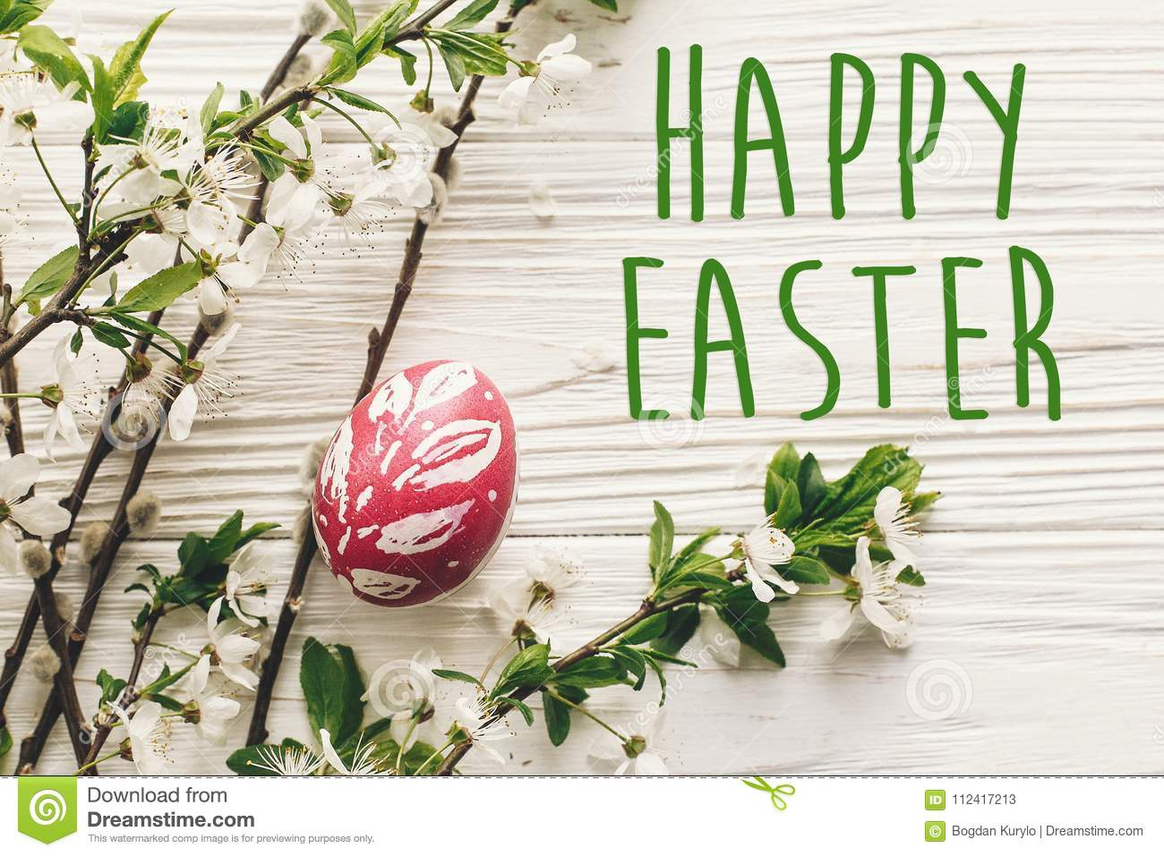 Happy Easter Text Seasons Greetings Card Stylish Easter Flat