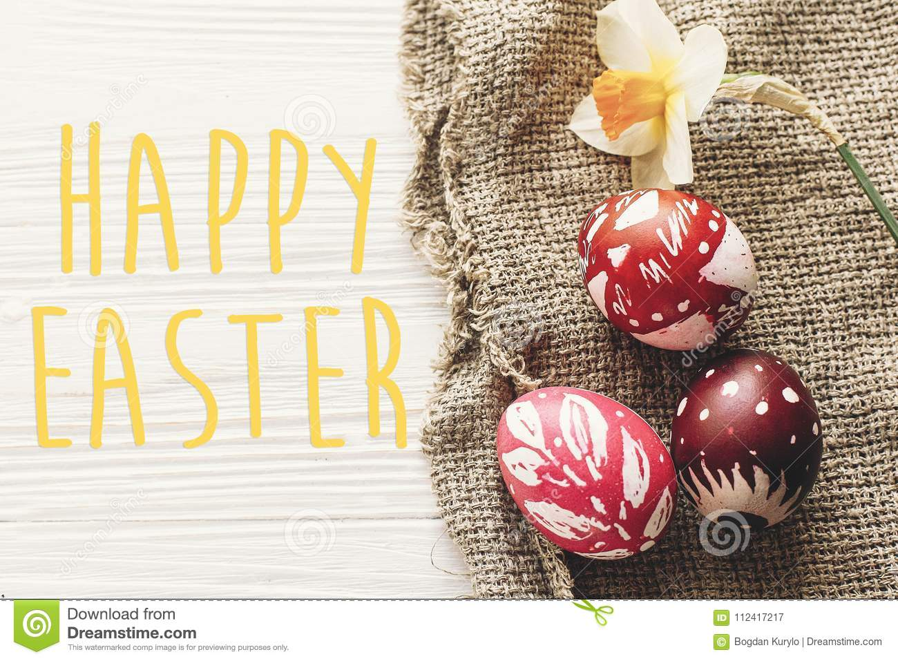 Happy Easter Text Seasons Greetings Card Stylish Painted Egg