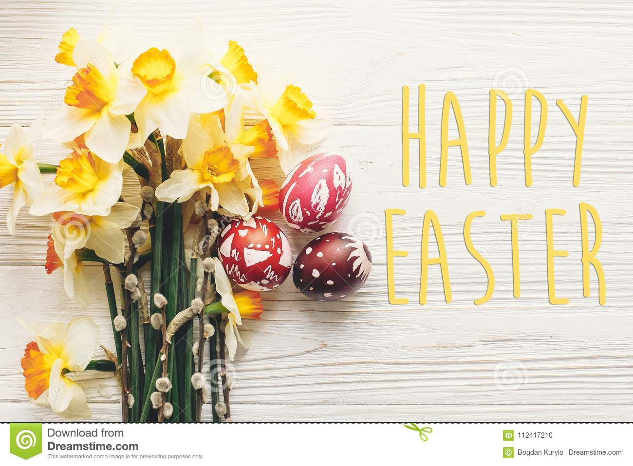 Happy Easter Text Seasons Greetings Card Stylish Painted East