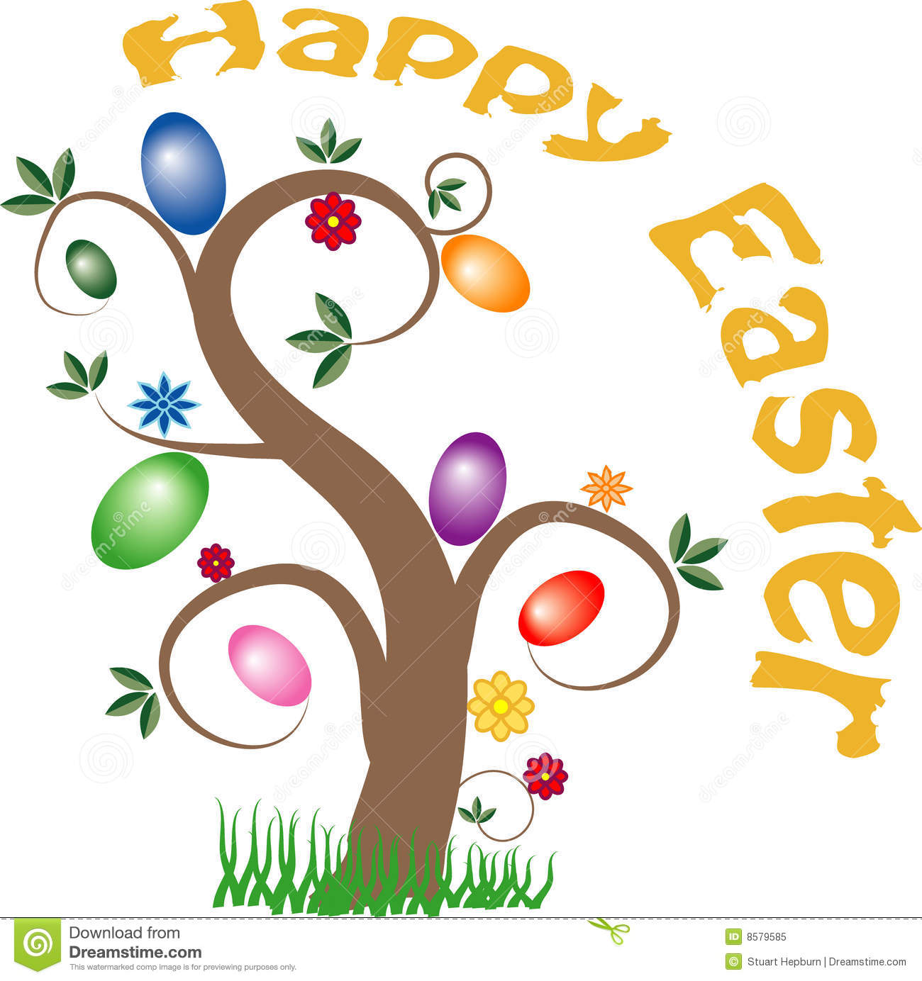 Vector image of a tree with Easter eggs hanging from the branches.