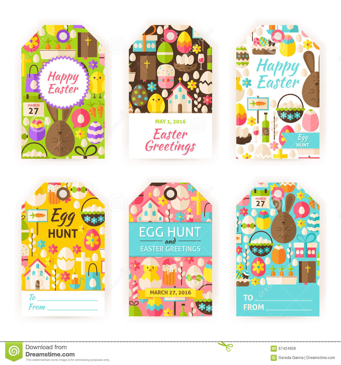 Happy easter vector gift tag template flat set stock vector happy easter vector gift tag template flat set royalty free vector negle Choice Image
