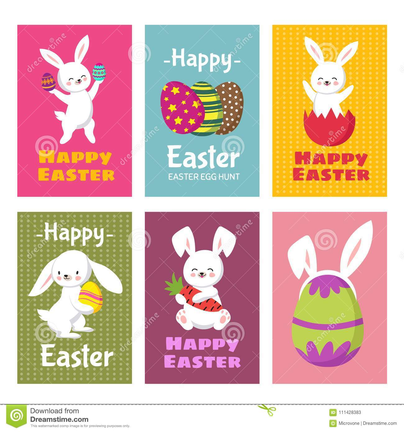 Happy Easter Vector Greeting Cards With Cartoon Bunny Rabbit And