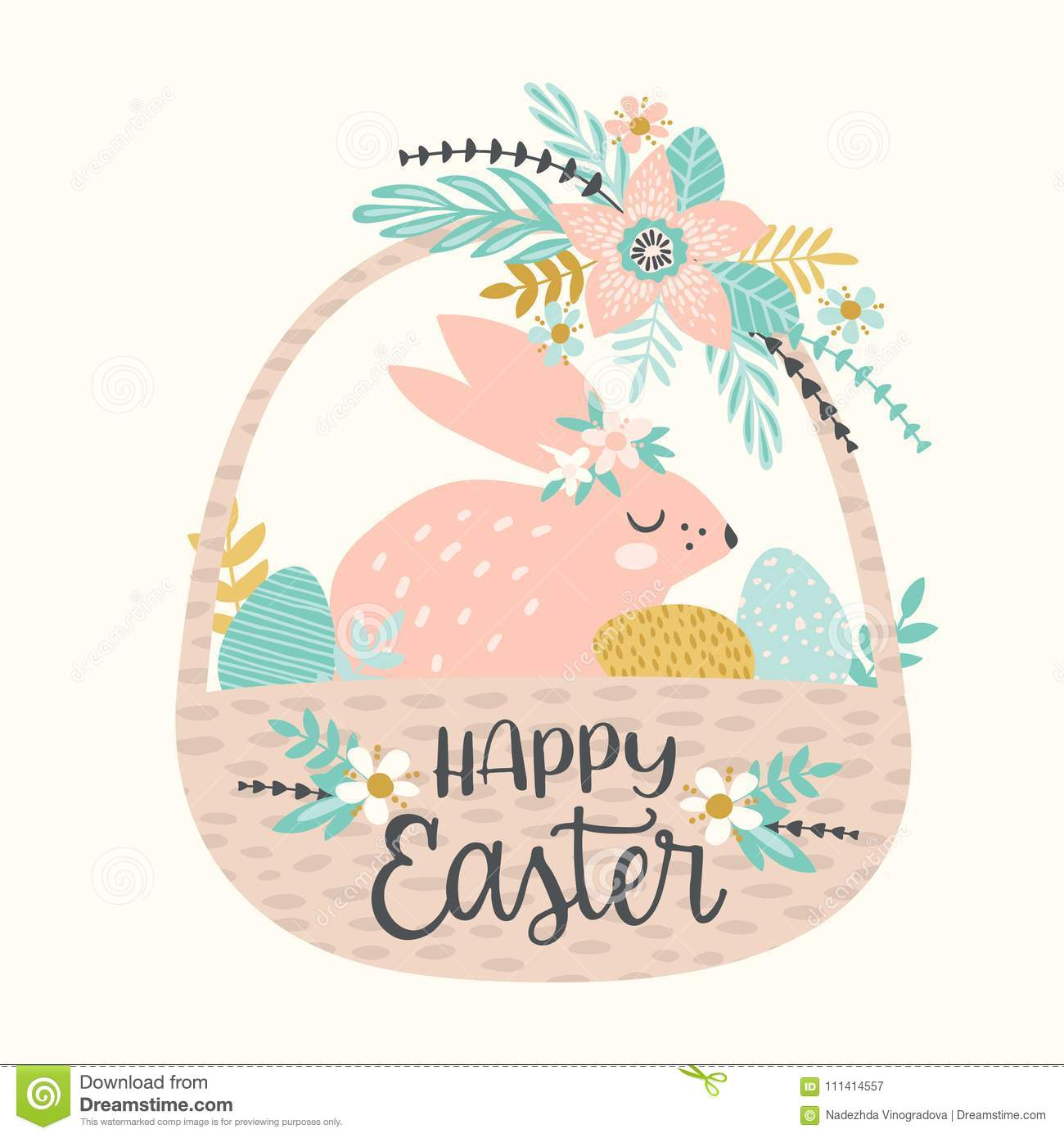 happy easter vector template with easter bunny for card poster