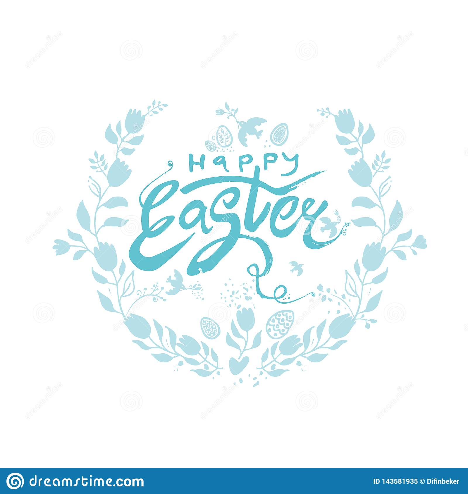 Happy Easter. Vector turquoise logo sketch hand drawn Easter eggs and flowers wreath. Modern calligraphy.