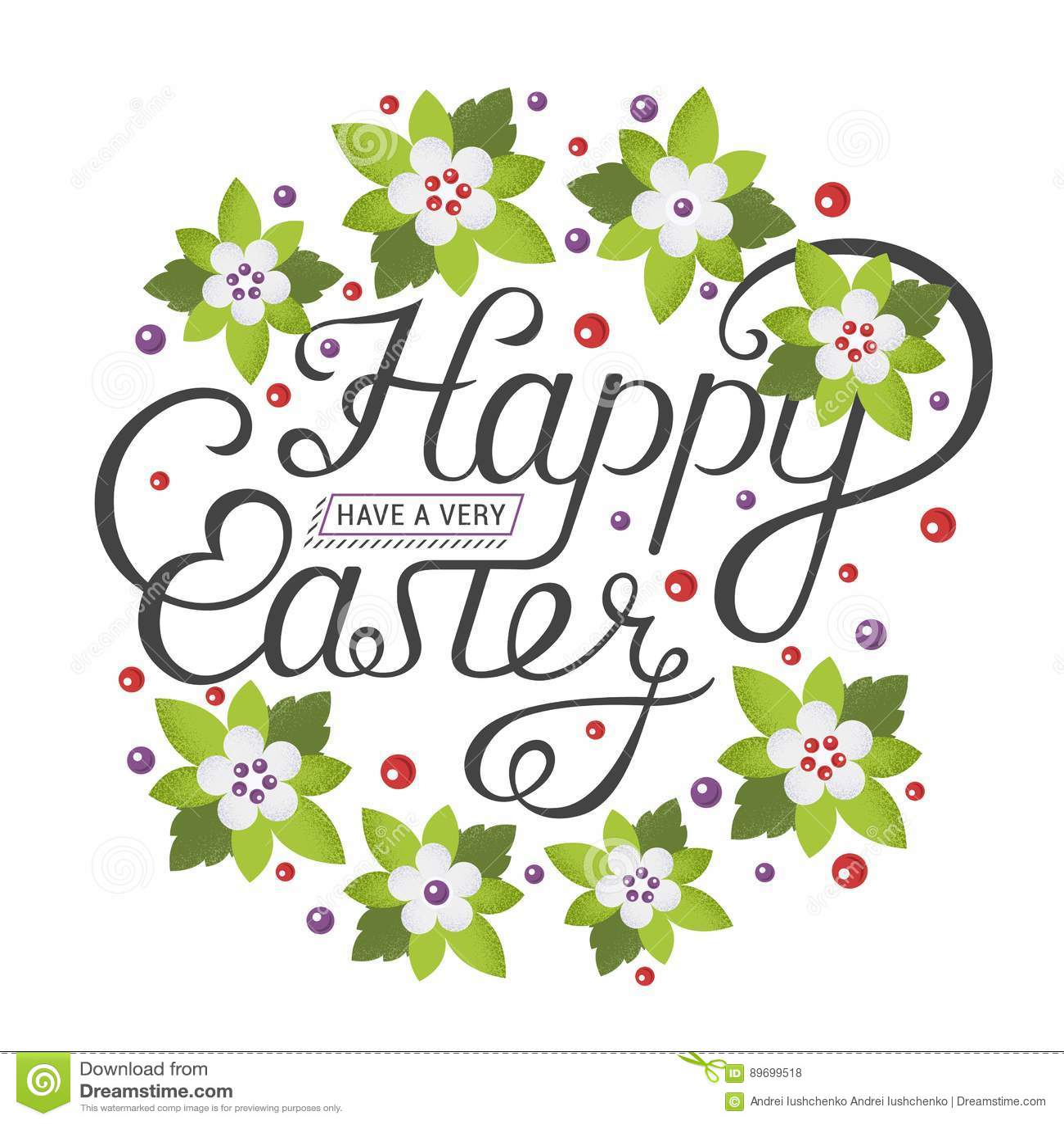 Happy Easter Vintage Lettering For Greeting Card Stock Illustration