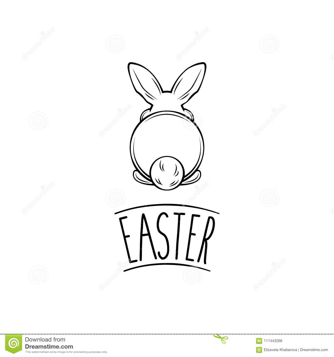 Happy Easter and white bunny bottom. Vector illustration. Easter rabbit, hare.