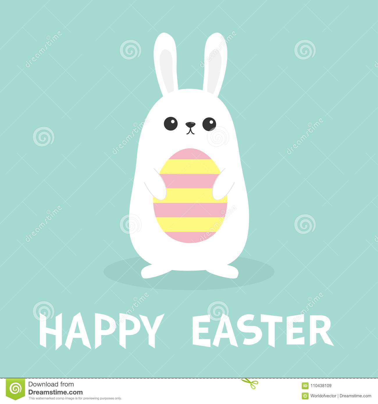 Happy easter white bunny rabbit holding painted pattern egg funny happy easter white bunny rabbit holding painted pattern egg funny head face big ears cute kawaii cartoon character baby greeting card blue pastel color m4hsunfo