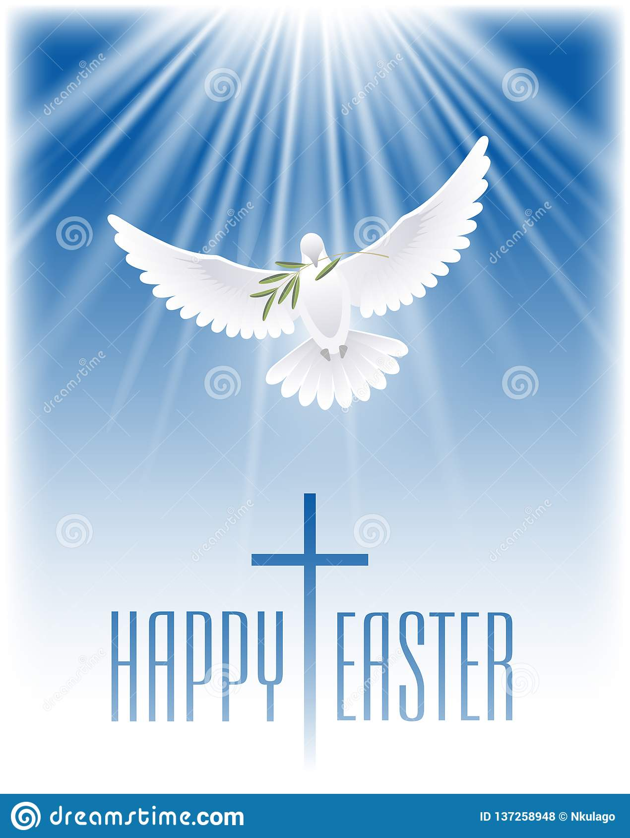 Happy Easter. White dove with olive branch and cross