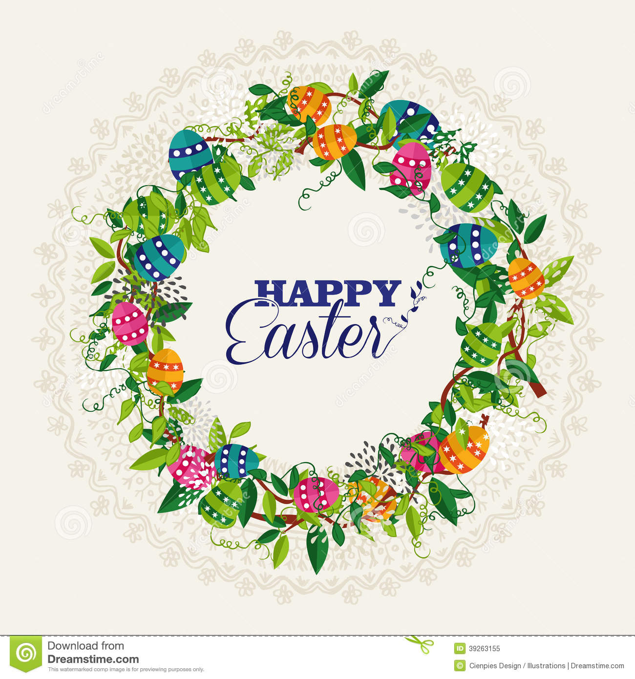 Happy Easter Wreath Colors Eggs Stock Vector Image 39263155