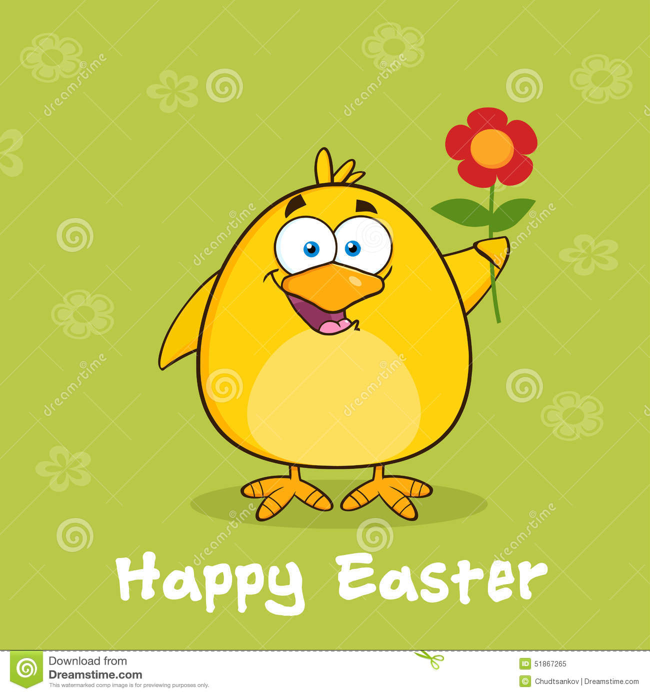 Happy easter with yellow chick cartoon character with a red daisy happy easter with yellow chick cartoon character with a red daisy flower izmirmasajfo
