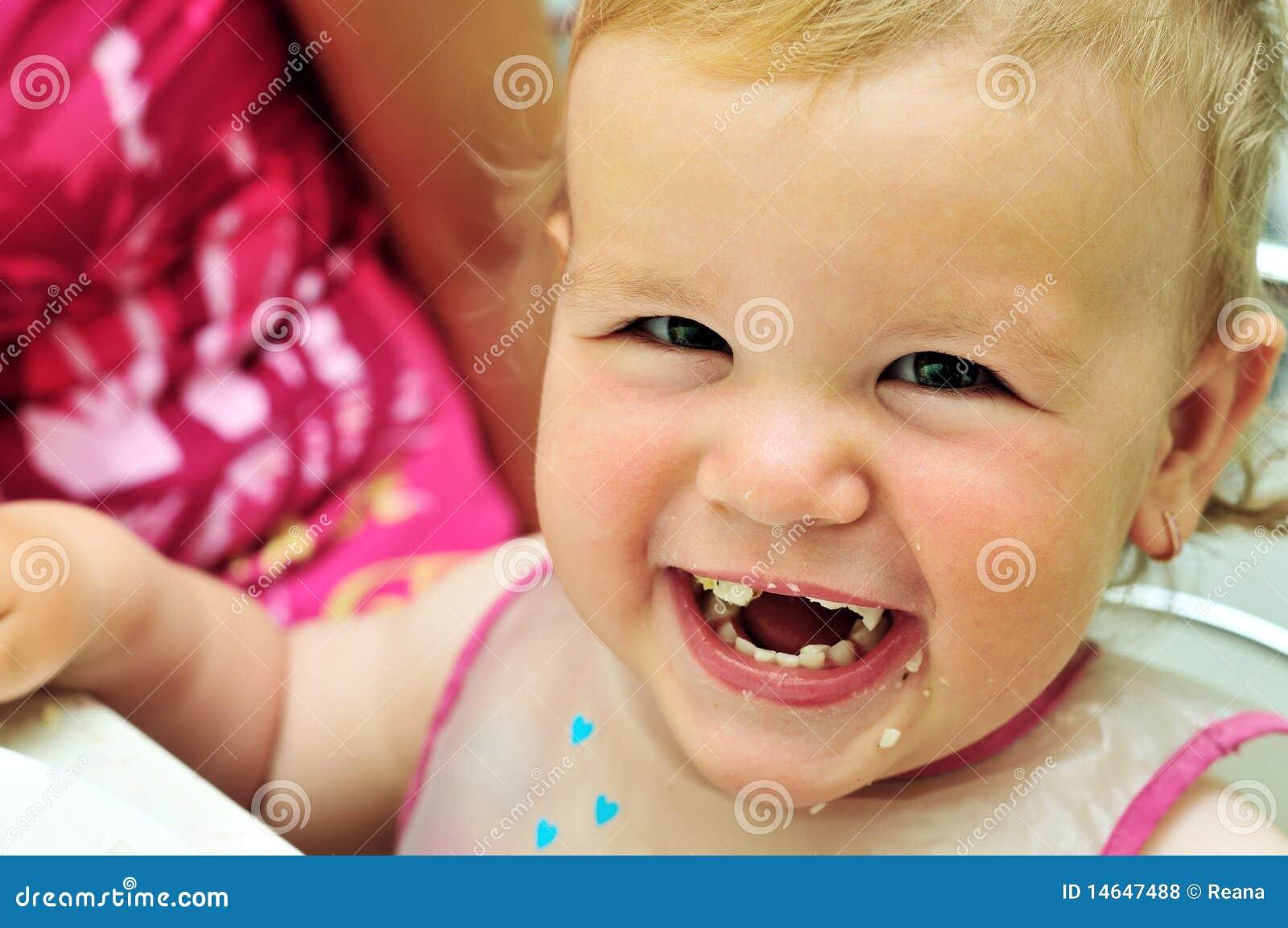 Happy Eating Sweet Baby Girl Stock Photo Image 14647488