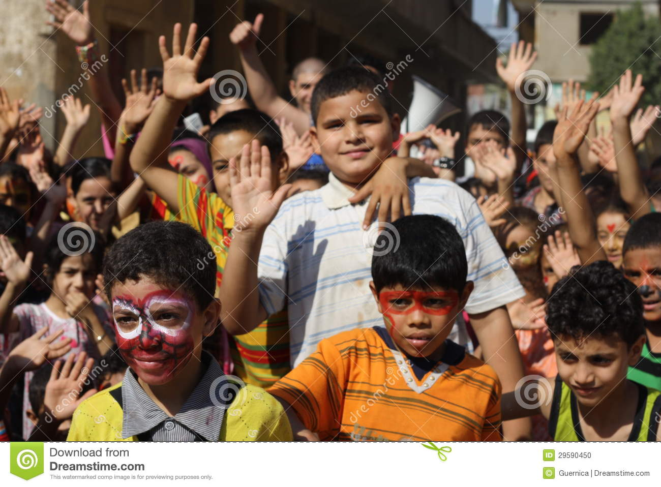Happy Egyptian kids playing at charity event in giza, egypt
