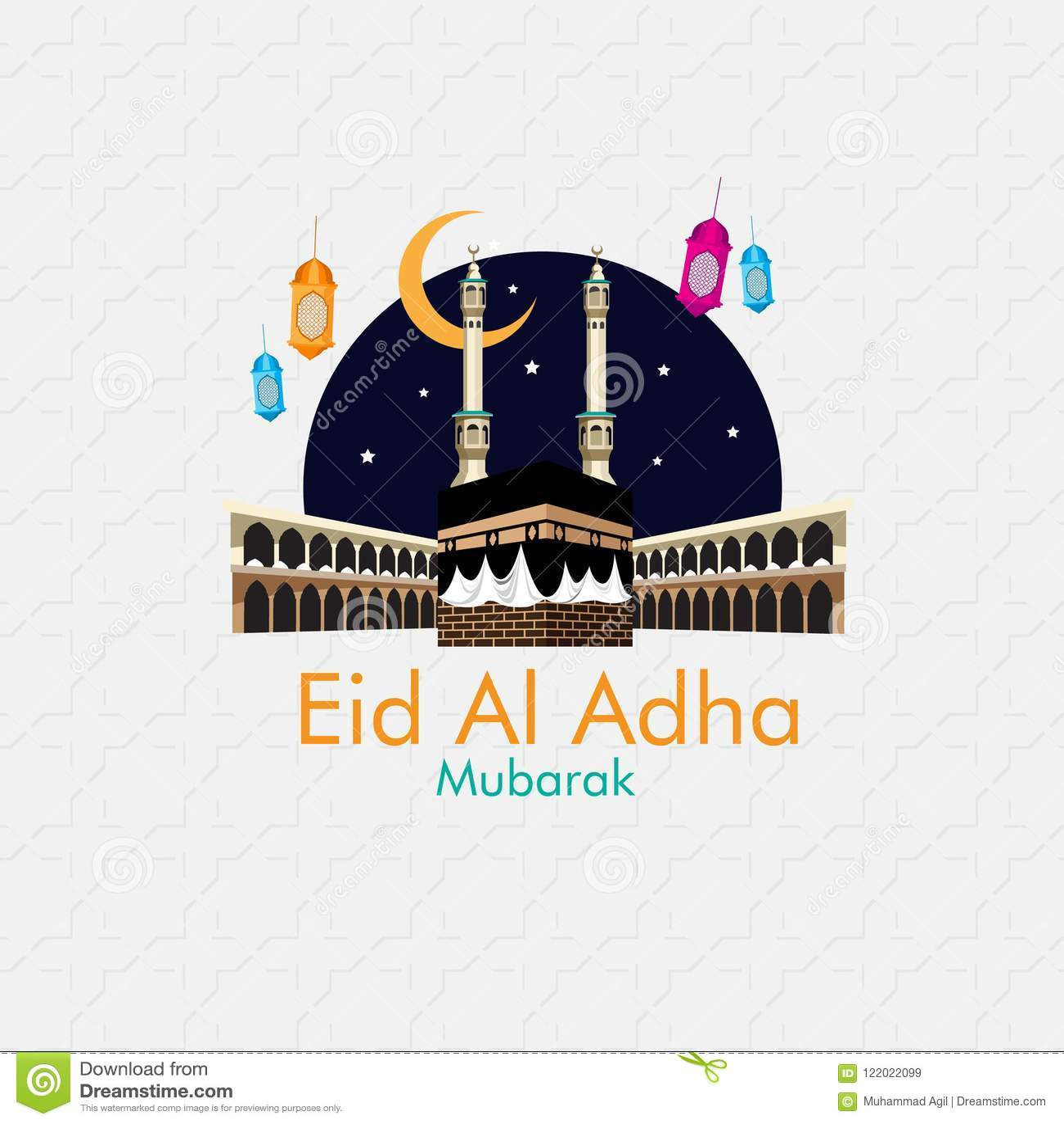Happy Eid Al Adha Mubarak Stock Vector Illustration Of