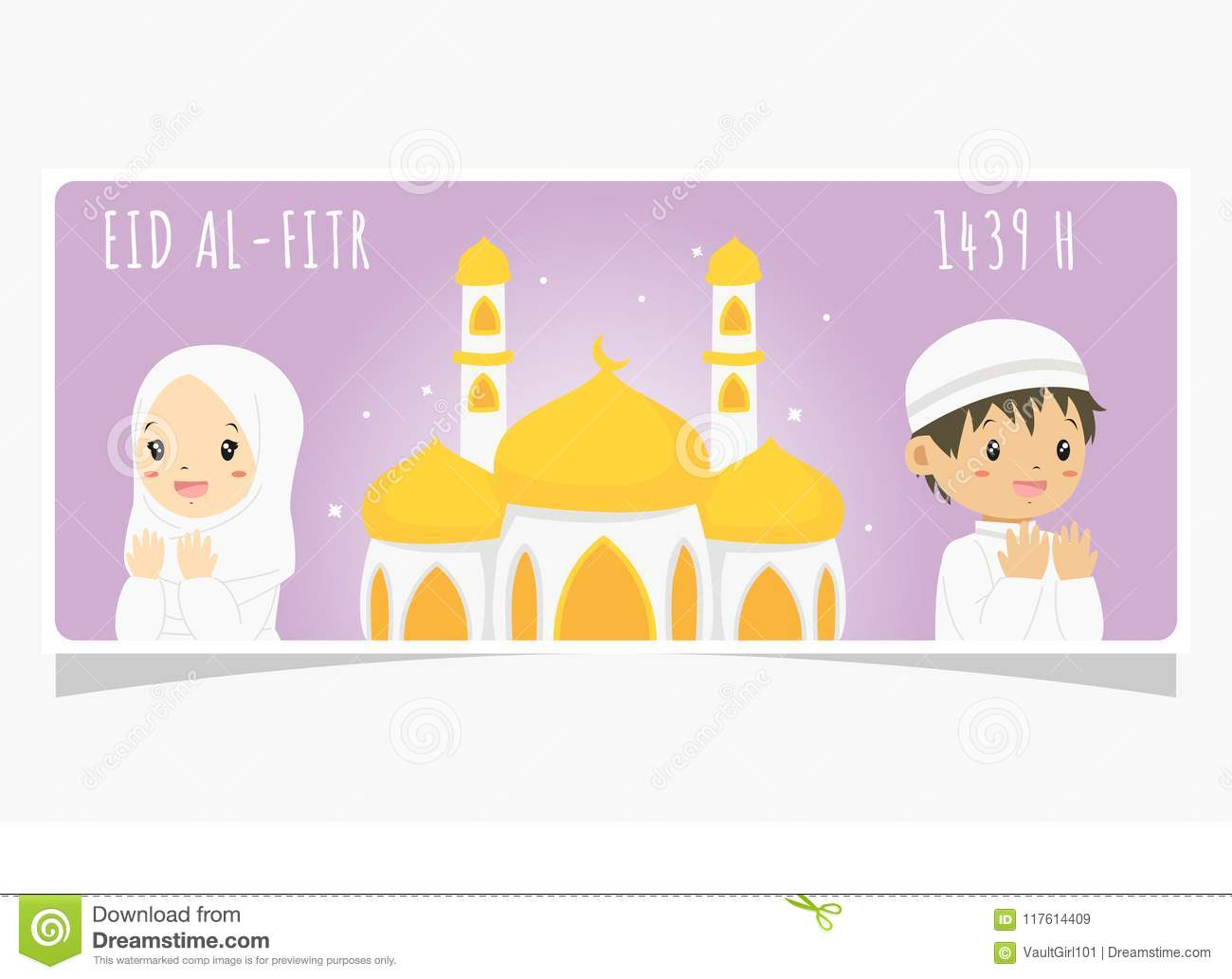 picture about Ramadan Cards Printable known as Eid Al Fitr Ramadan Banner, Praying Muslim Small children And Mosque
