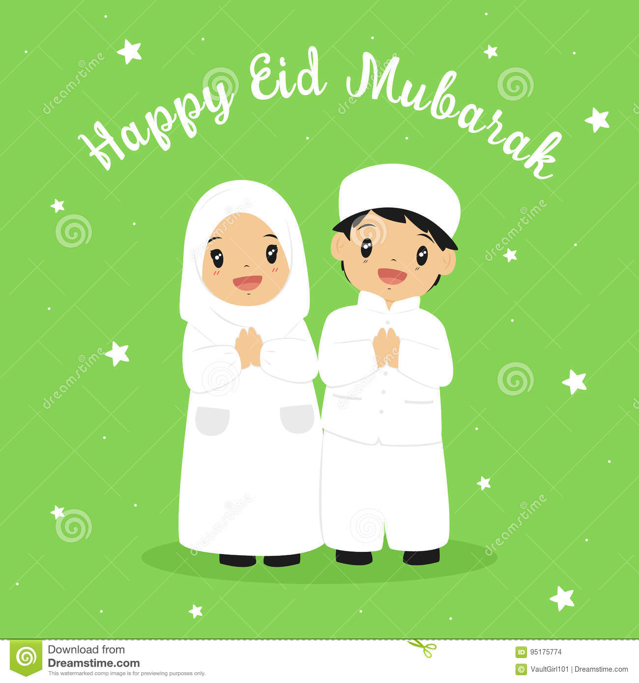 Happy Eid Greeting Card Stock Vector Illustration Of Banner 95175774