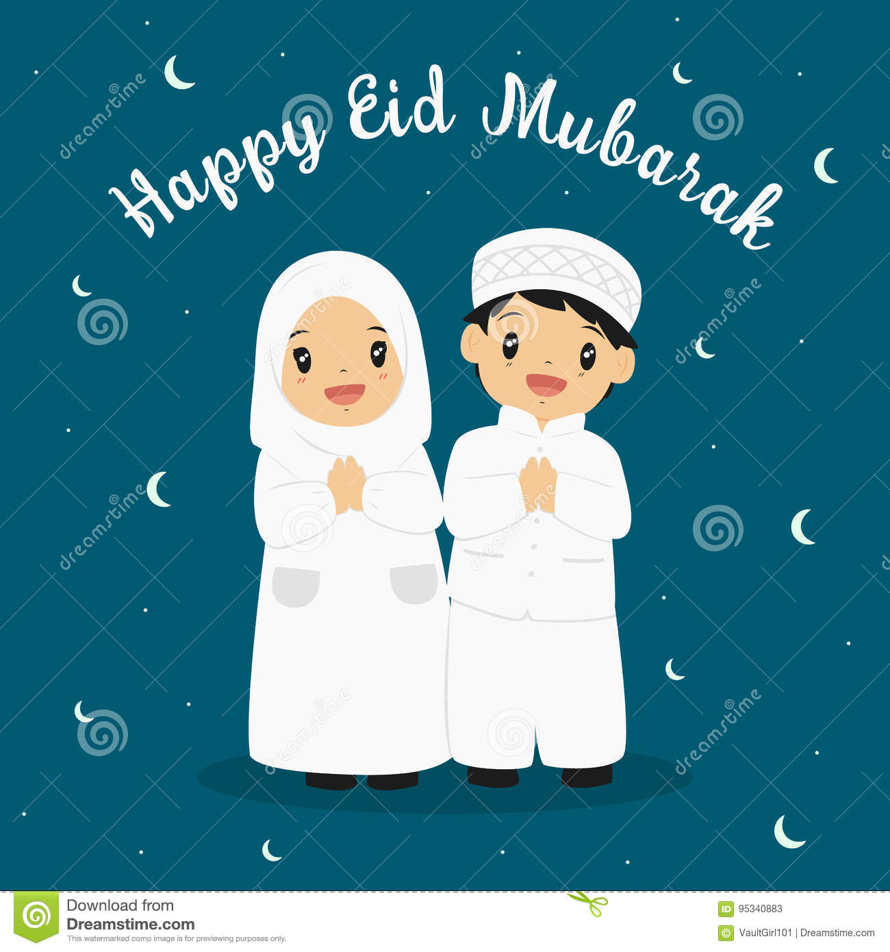 Happy eid greeting card stock vector illustration of flat 95340883 happy eid mubarak greeting card vector happy muslim boy and girl with crescent moon background m4hsunfo