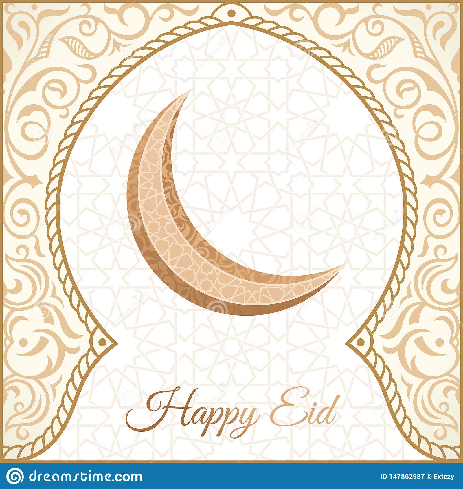 Happy Eid Mubarak Greeting Design Happy Holiday Words With Golden Mosque And Floral Background Stock Vector Illustration Of Festival Islamic 147862987