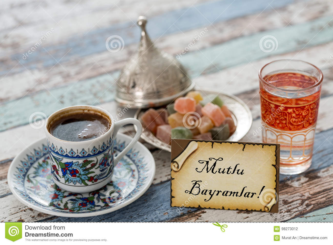 Happy Eid Text In Turkish On Greeting Card With Turkish Coffee