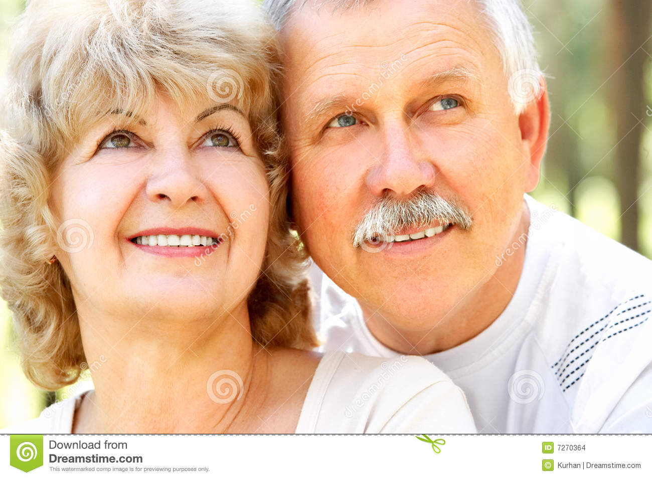 Smiling happy elderly couple in love outdoor Happy Elderly Couple
