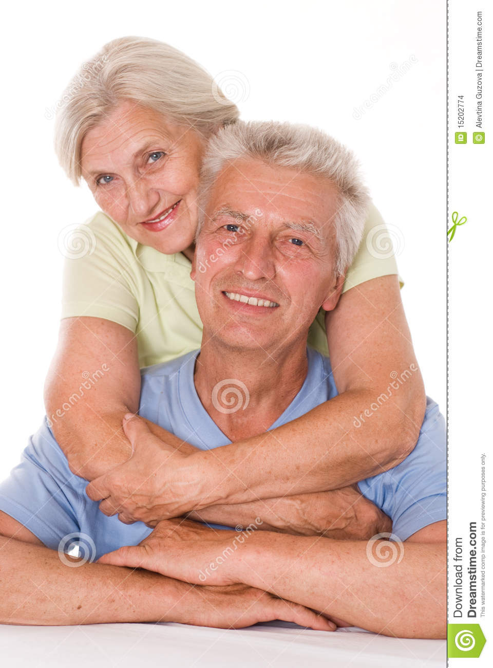 Happy elderly couple together on a white background Happy Elderly Couple