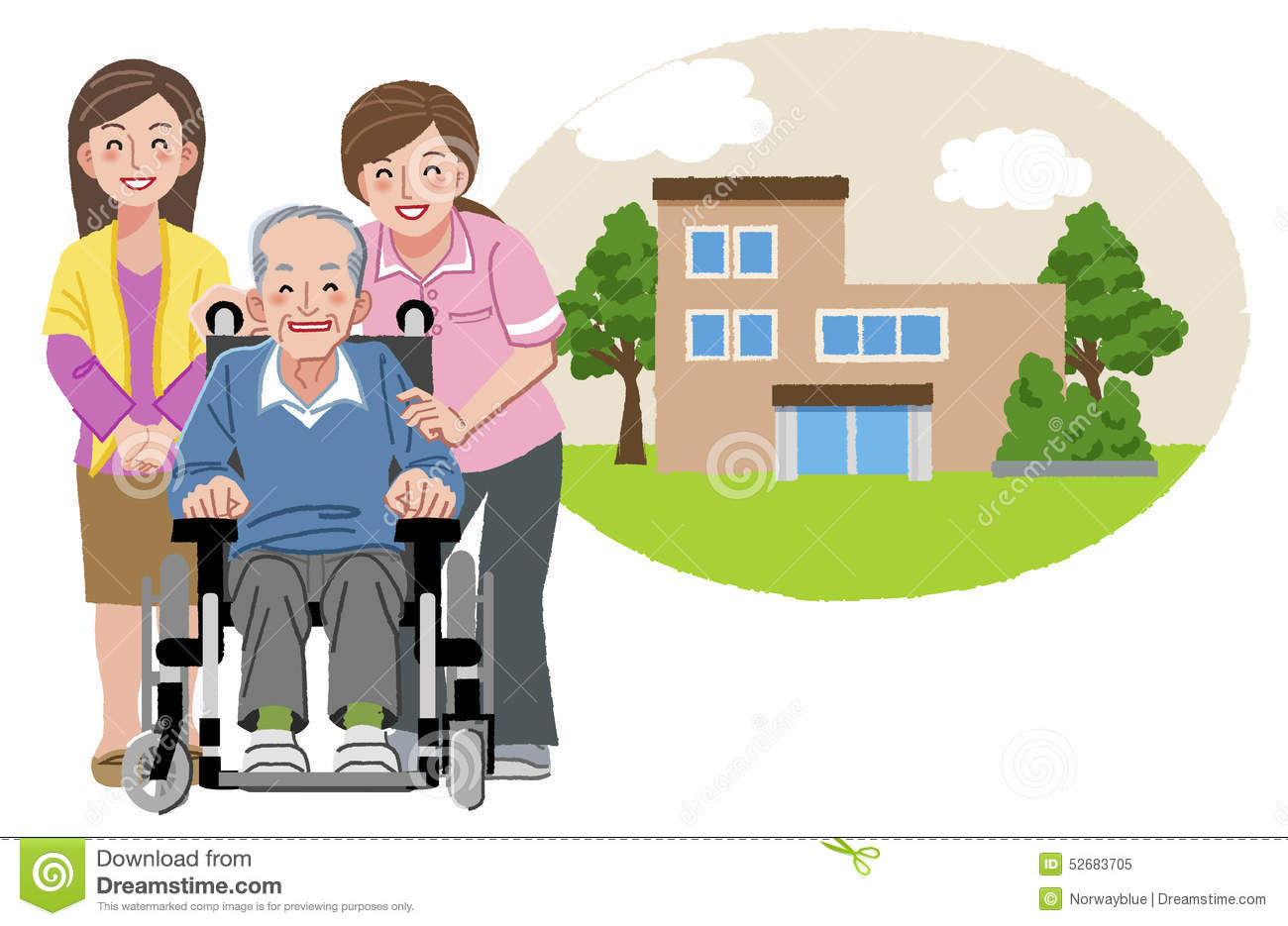 Happy elderly man in wheelchair with his family and nurse for Aide soignante en maison de retraite