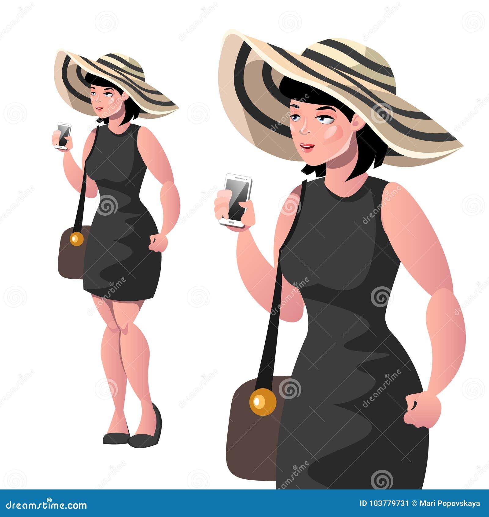 Happy elegant lady with hat isolated
