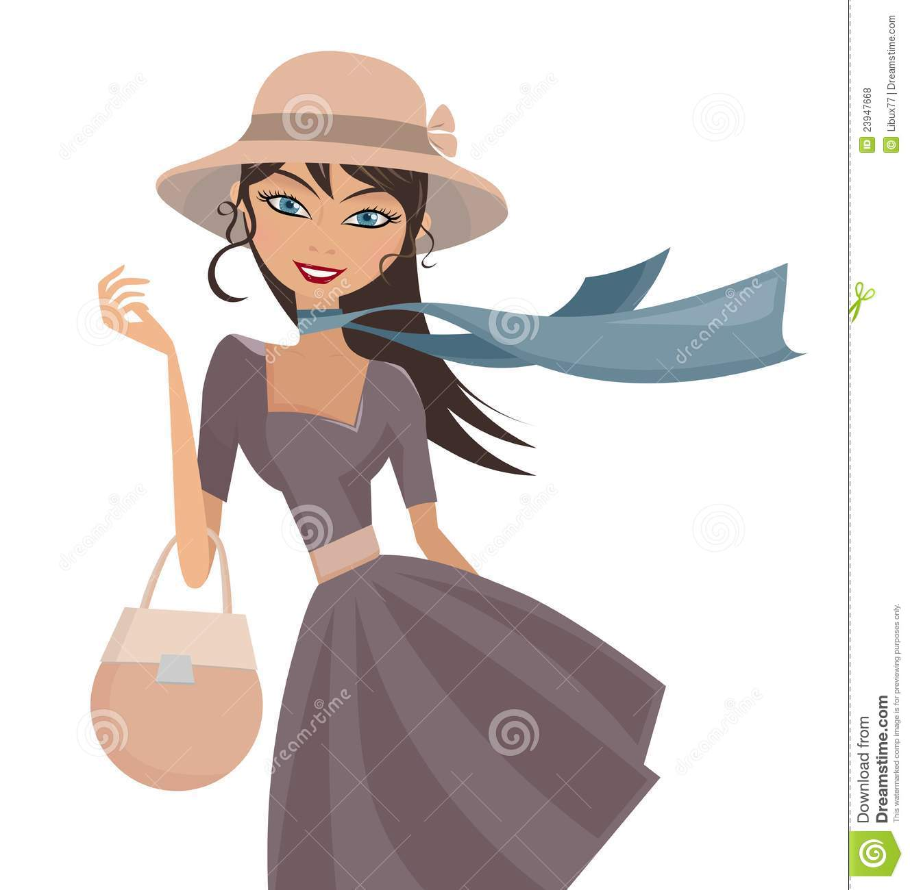 Happy Elegant Lady with Hat and Scarf