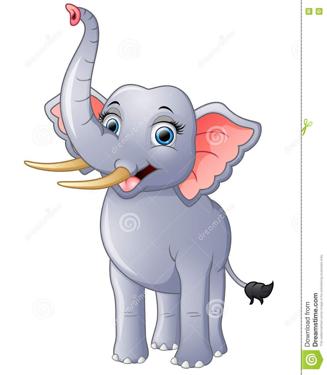 Happy Elephant Cartoon Isolated On White Background Stock ...