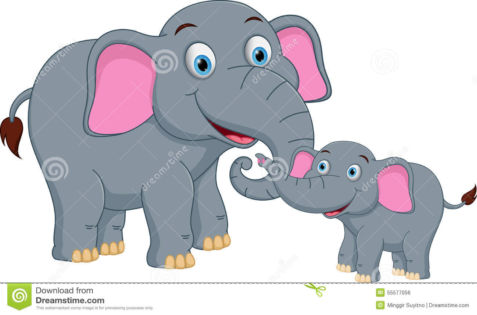 Happy Elephant family cartoon