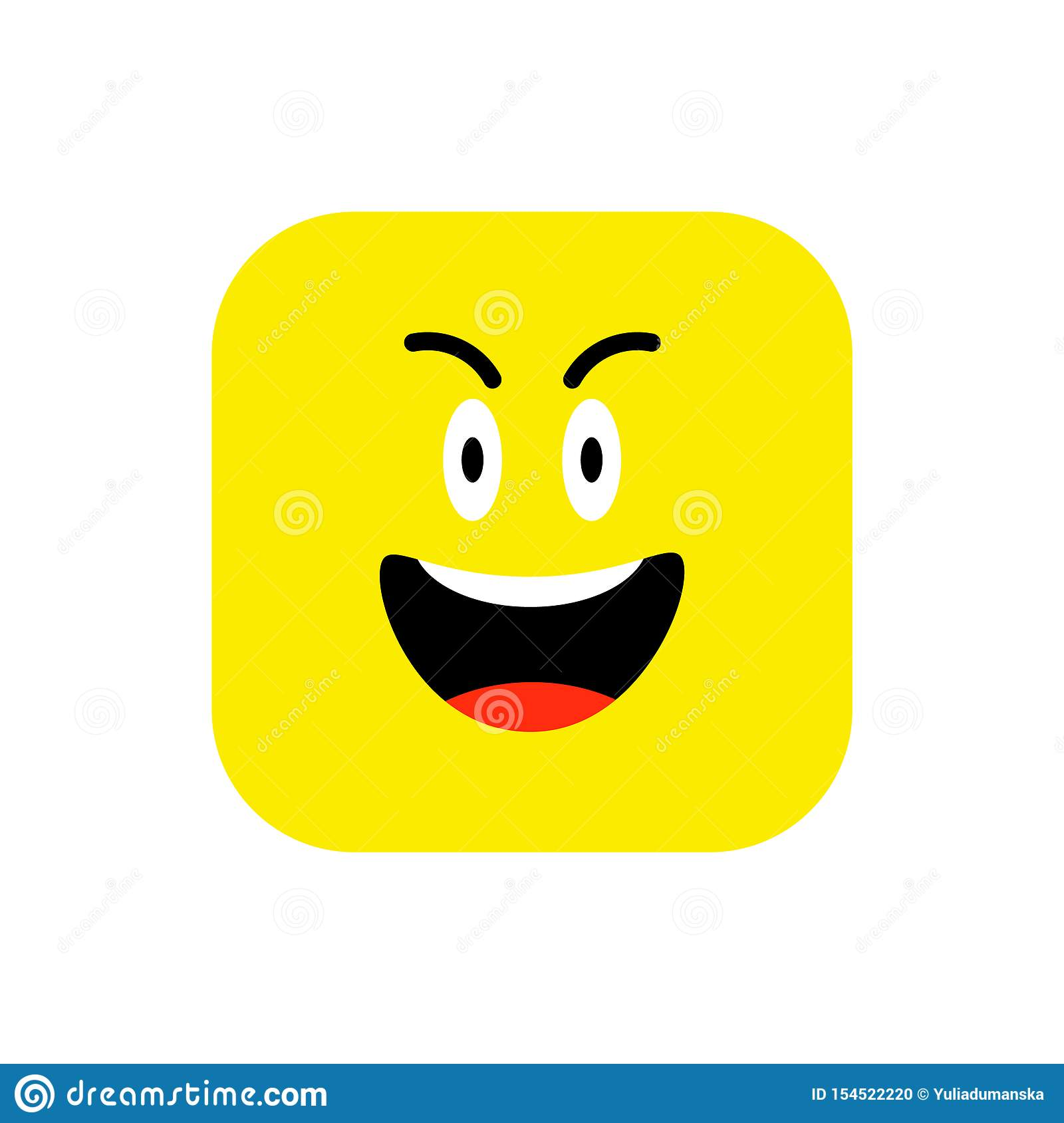 Happy Emoji icon flat style. Cute Emoticon rounded square to World Smile Day. Cheerful, Lol, Enjoying Face. Colorful