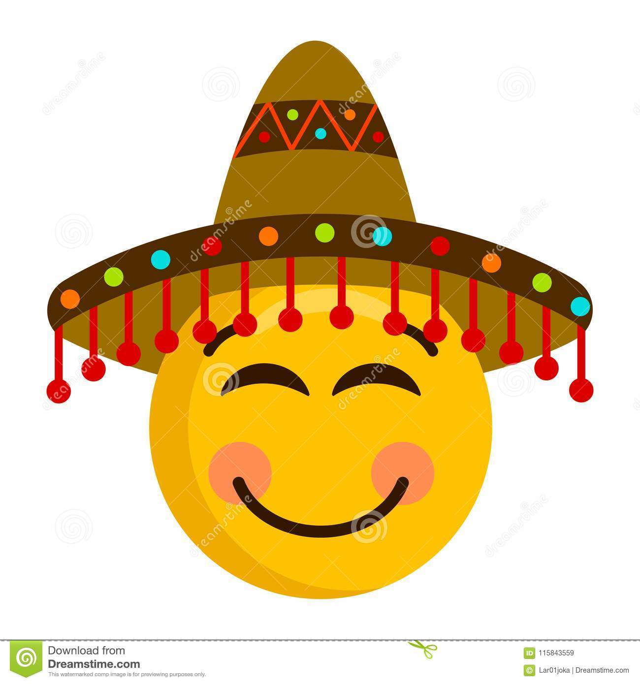 Happy emoji with a mexican hat