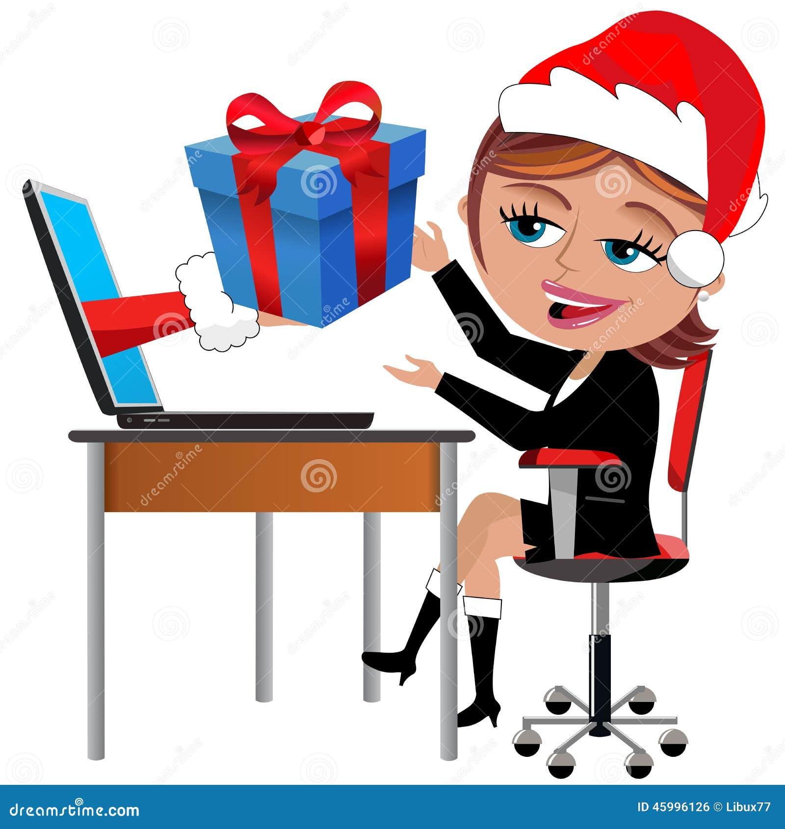 Happy Employee Receiving Gift Christmas Office Desk Stock