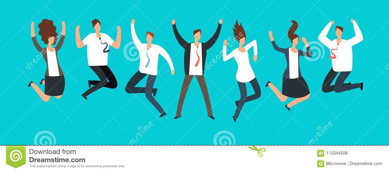 Happy excited business people, employees jumping together. Successful team work and leadership vector cartoon concept