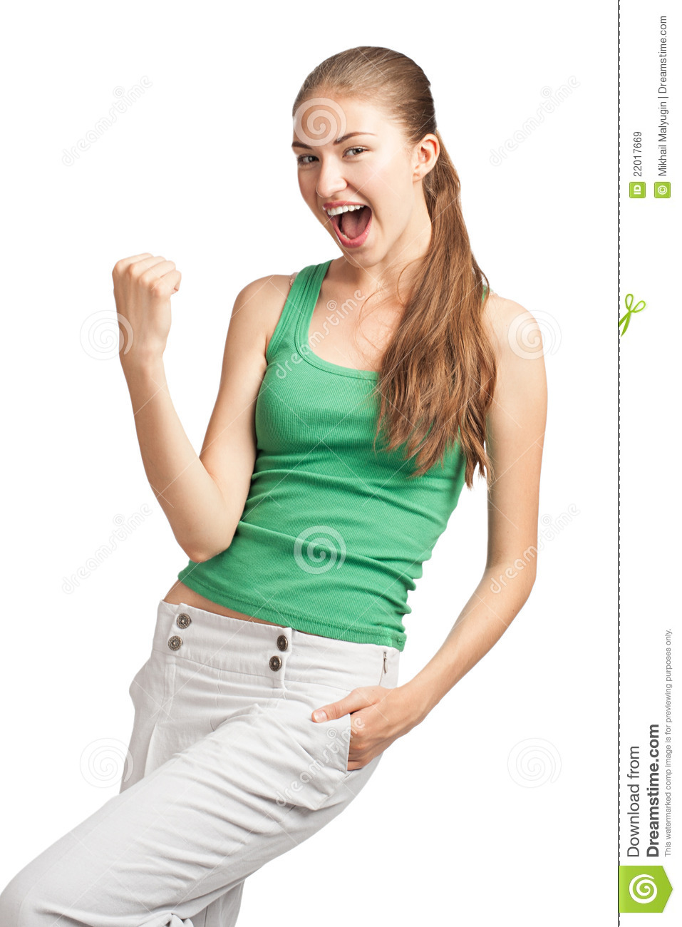 Happy Excited Girl With Open Mouth Royalty Free Stock ...