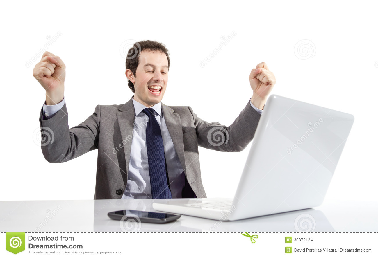 Happy Executive Man Looking A Laptop Computer With Arms