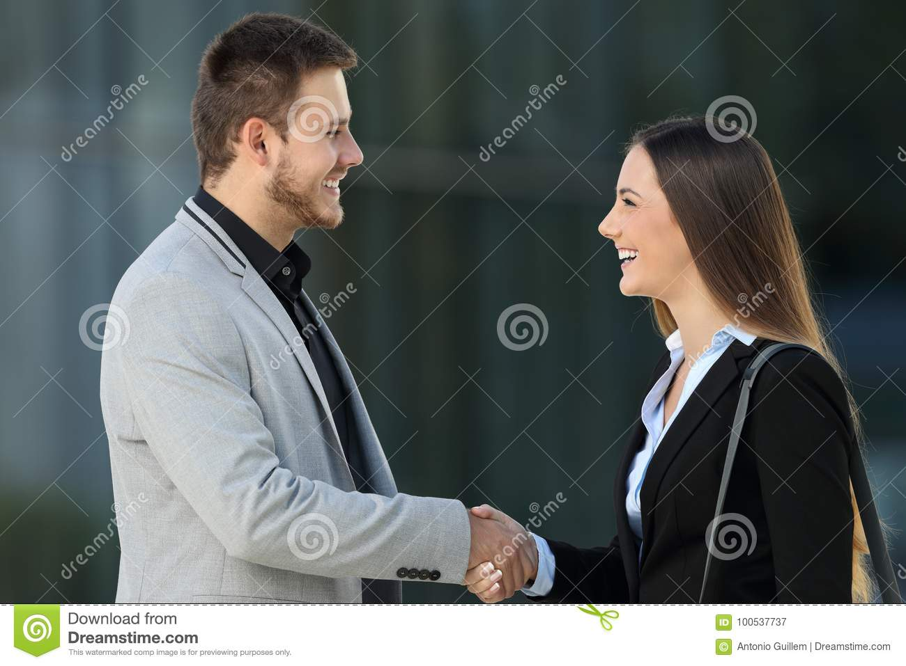 Happy executives meeting and handshaking on the street