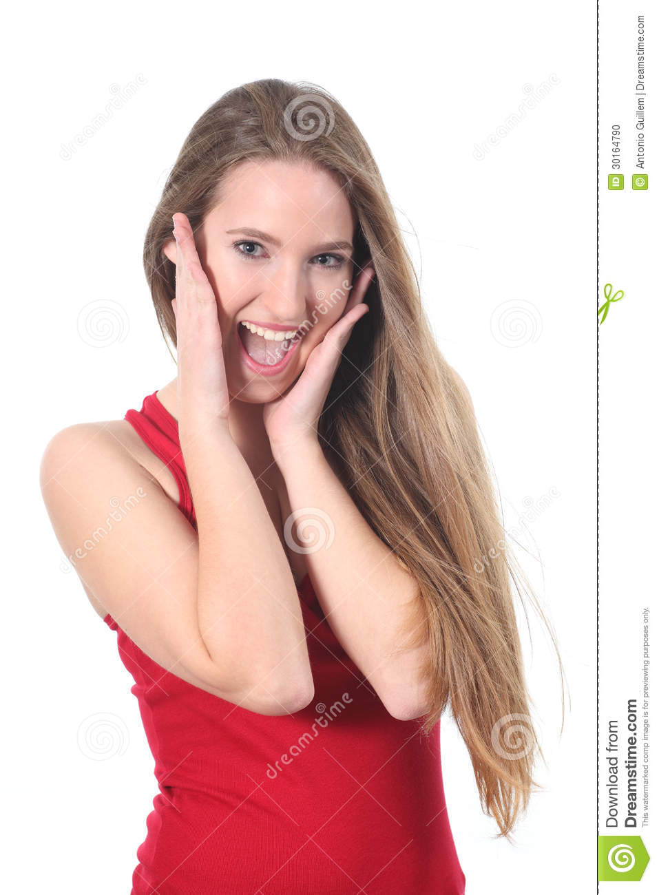 Happy expression of a woman with her hands on the face