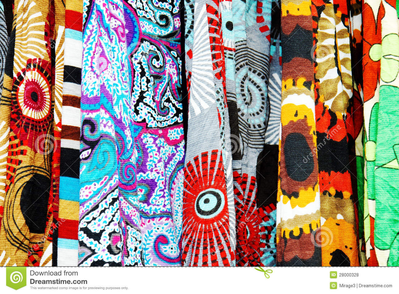 Happy Fabrics With Bold Patterns Royalty Free Stock Photos