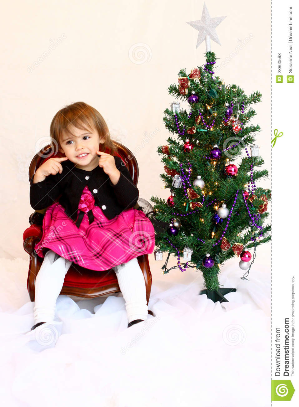 download happy face 1 year old christmas girl stock photo image of decorated