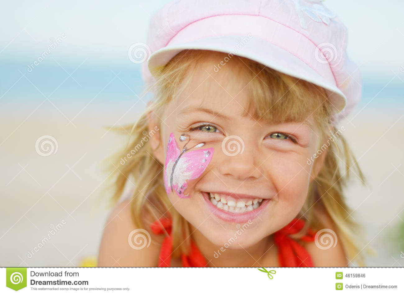 Happy Face Of Little Girl With Painting Stock Photo Image