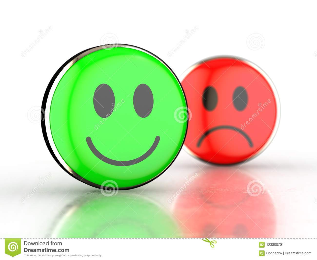 Happy face and sad face