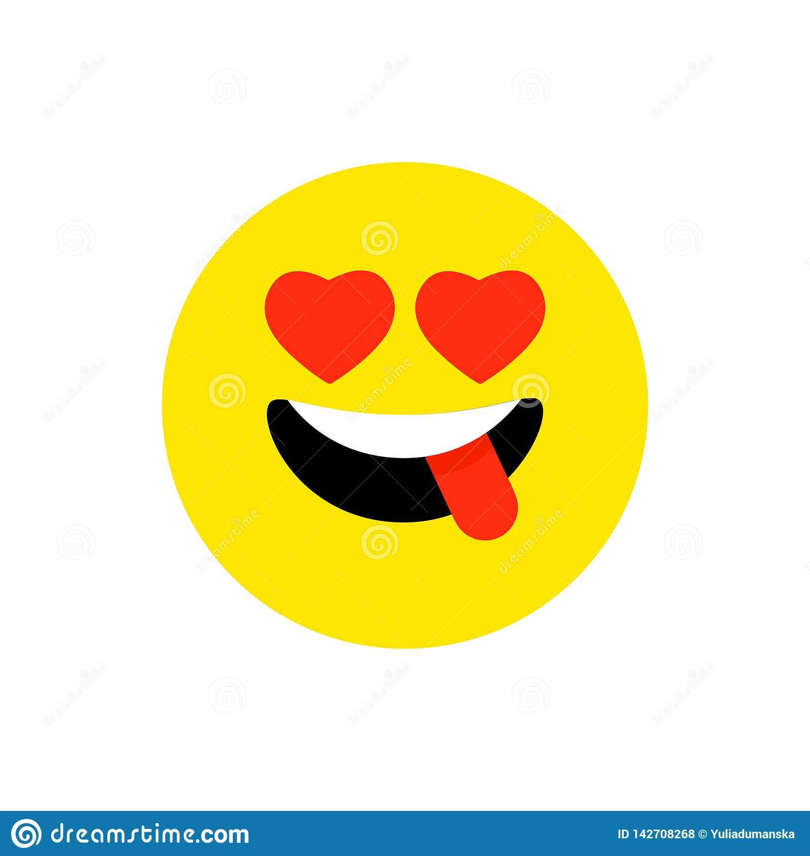 Happy face smiling emoji with open mouth. Funny Smile flat style. Cute Emoticon symbol. Smiley, laugh icon. For mobile