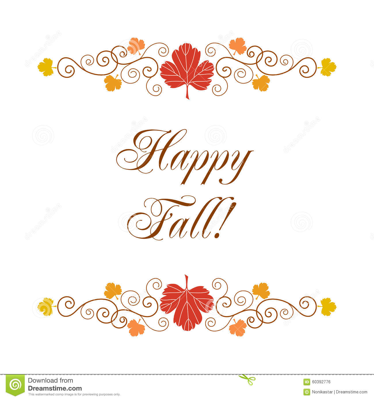 Happy Fall. Greeting card template with hand drawn autumn leaves and ...