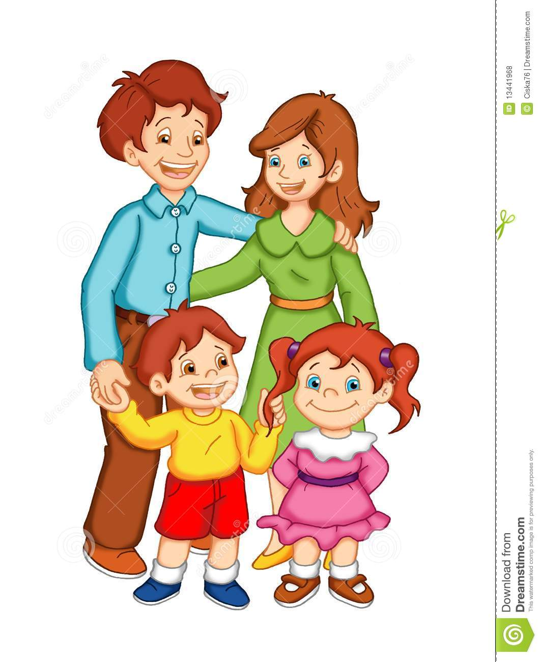 Arts And Crafts House Plans Happy Family Stock Illustration Illustration Of House