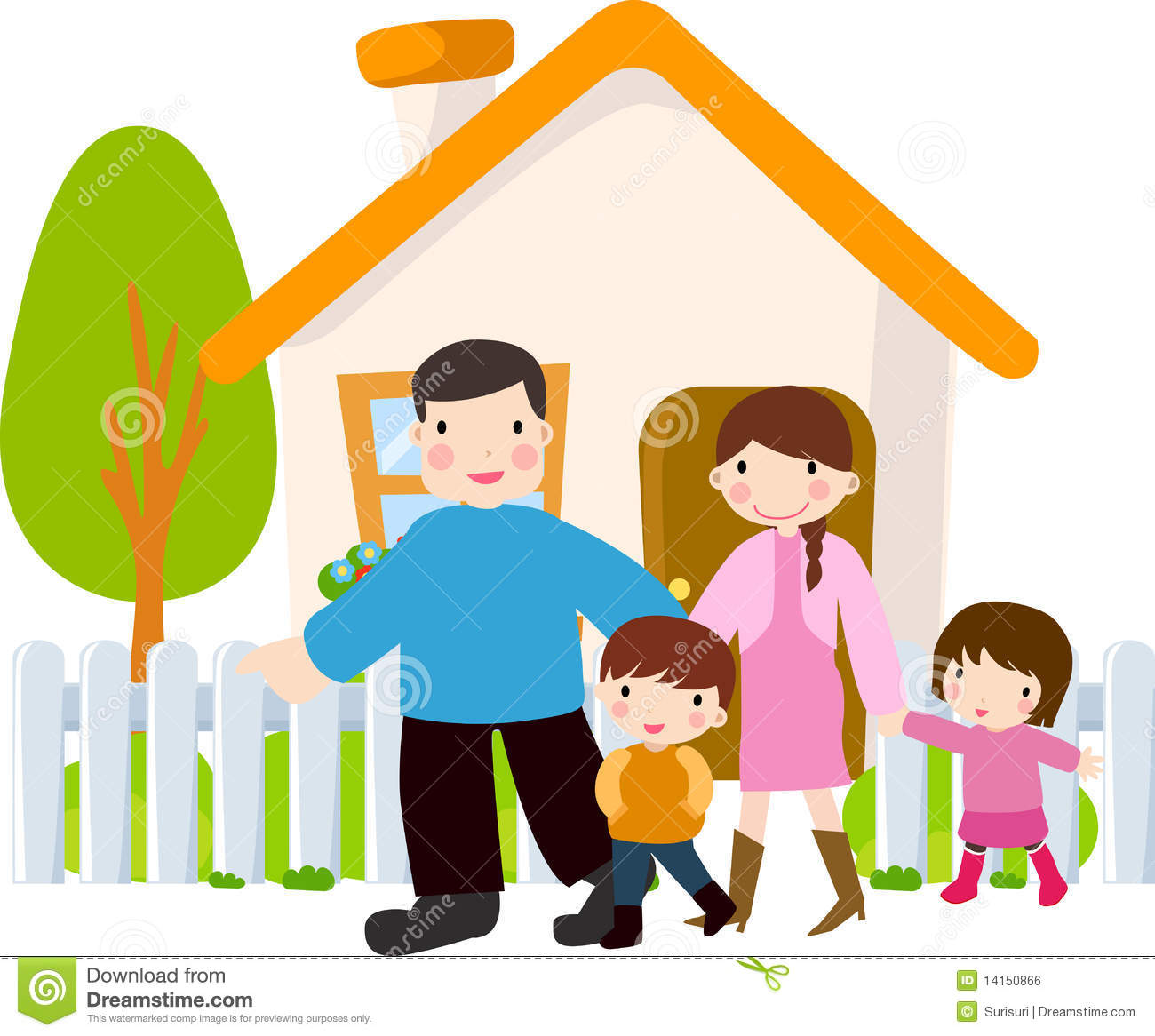 Happy Family Stock Vector Illustration Of House Expression 14150866
